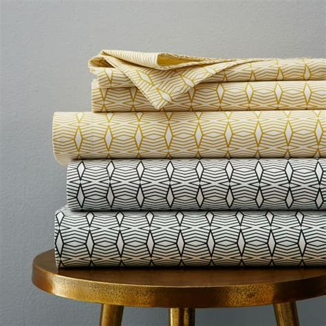 organic bed sheets organic diamond stripe sheet set west elm