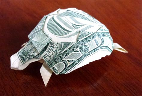 Money Origami Turtle - 548 your dollar go further setting the crease