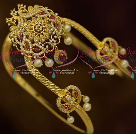 Rubies Bajuband ar11434 south indian traditional bridal arm jewellery ruby white matching bajuband ad peacock