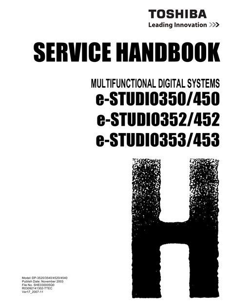 Toshiba E Studio 350 450 352 452 353 453 Service Handbook