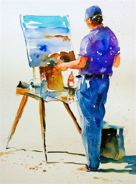 People Painting | david lobenberg study of a painter on the beach