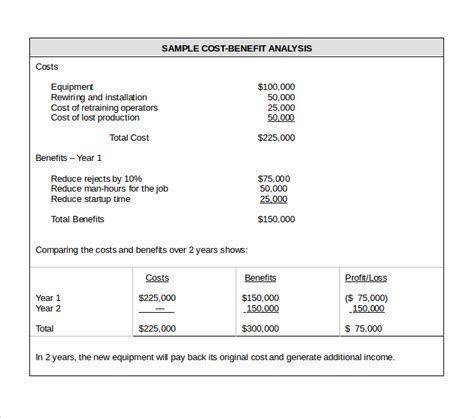 business cost benefit analysis template cost benefit analysis template 6 free pdf word