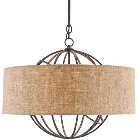 Currey And Company Globe Chandelier With Burlap Shade Burlap Chandelier