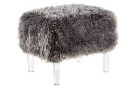 gray fur vanity stool inspired home theophania luxe faux fur acrylic leg