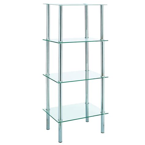 4 Tier Glass Shelf Unit 4 tier glass shelf unit clear lassic everything for