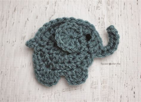 e is for elephant crochet elephant applique repeat crafter me