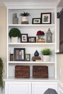 how to decorate built in shelves styled family room bookshelves shelving room and living