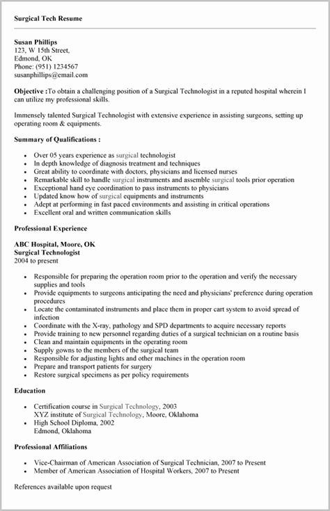 surgical tech resume builder resume resume exles