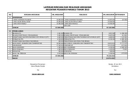 format laporan realisasi anggaran laporan rencana dan realisasi penggunaan anggaran pilkades