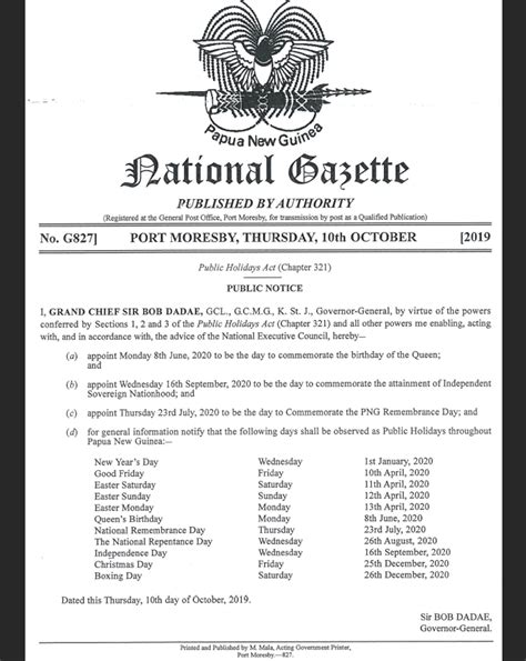 papua  guinea public holidays  publicholidaysasia