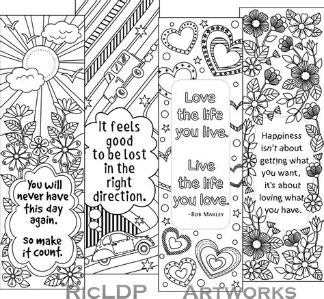 printable bookmarks adults printable colouring bookmarks with quotes by