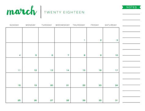 free blank calendar template march 2018 march 2018 printable calendar calendar 2018