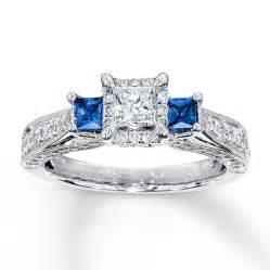 Kay diamond sapphire ring 1 ct tw princess cut 14k white gold