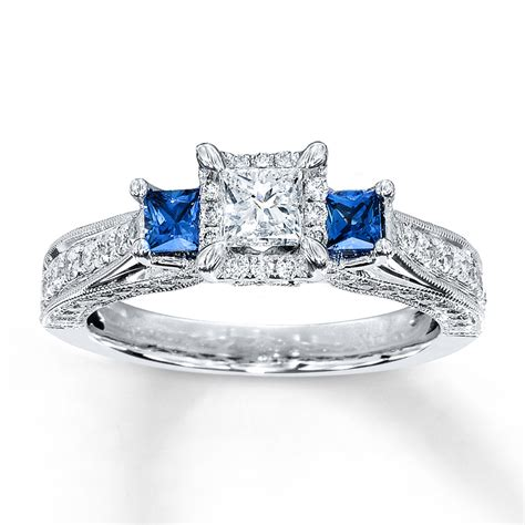 sapphire ring 1 ct tw princess cut 14k white