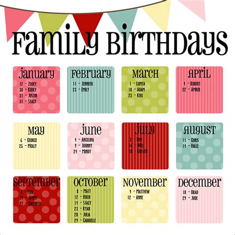photoshop birthday calendar template birthday calendar calendar template free premium