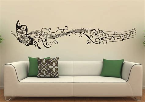 music wall decor butterfly with music notes wall sticker for living room