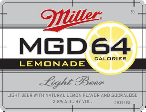 carbohydrates in miller 64 mgd 64 logo