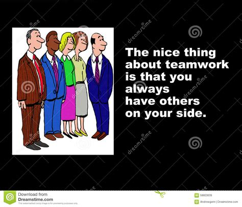 The Thing About Company by Teamwork Means Others On Your Side Stock Illustration