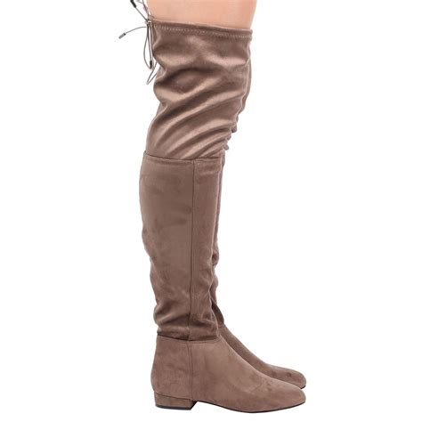 low heel thigh high boots womens low heel knee elasticated boots
