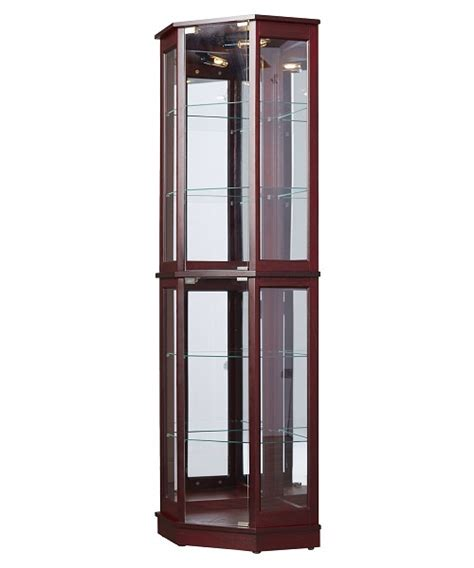 floor standing corner curio cabinet glass mirrored back