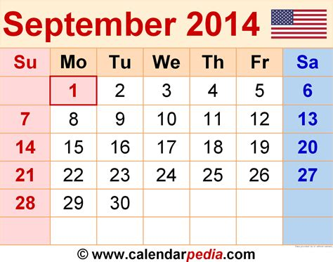 september 2014 calendar template september 2014 calendars for word excel pdf