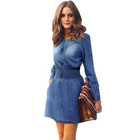 Dresa Denim sleeve denim dress s plus size dress elastic