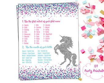 printable unicorn names name generator etsy