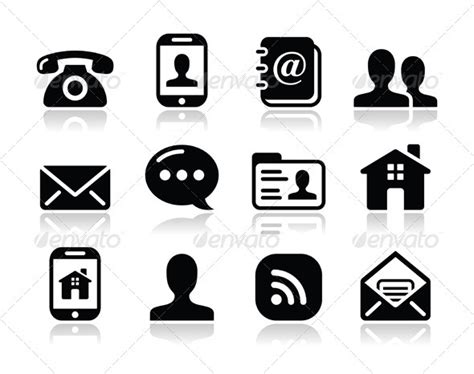 contact black icons set mobile user email graphicriver
