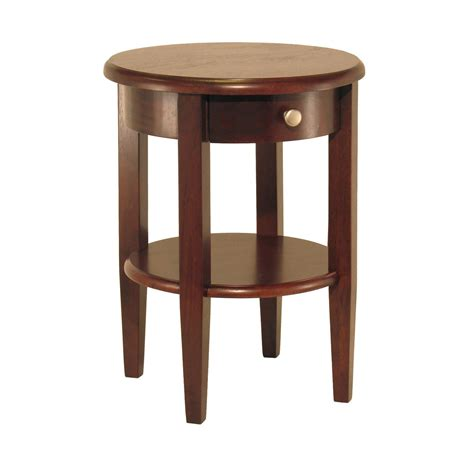 round end table with drawers winsome wood round end table with drawer and
