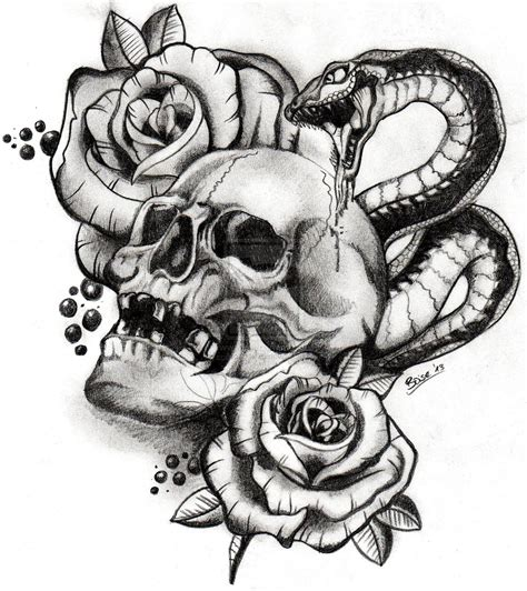 snake skull tattoo designs evil skull drawings with gun skull and snake by boise by