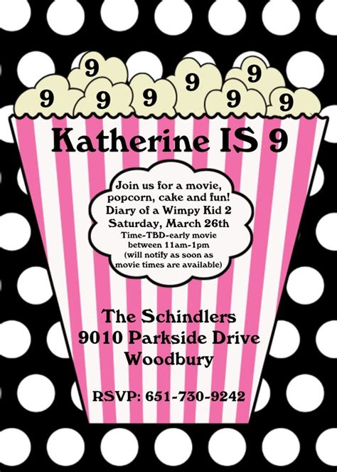 printable birthday invitations movie theme free 6 best images of printable movie invitations movie night