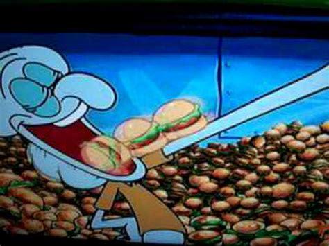 colored krabby patty spongebob squidward enjoying his time with krabby patty