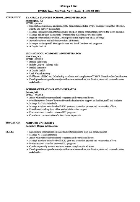 school administrator resume sles velvet