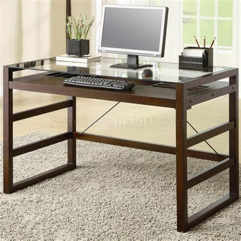 Modern Glass Top Desk Cherry Finish Modern Glass Top Home Office Desk W Options