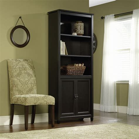 Black Bookcase With Doors Edge Water Estate Black Library Bookcase With Doors