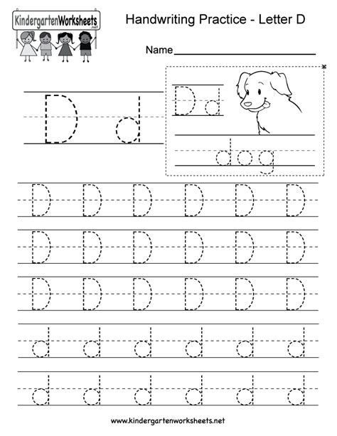 printable handwriting worksheets for kindergarten letter d handwriting worksheets