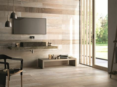Atractiva  Diseno De Cortinas De Cocina #8: Baldosas-azulejos-imitan-madera-suelo-pared-salon-moderno.jpg