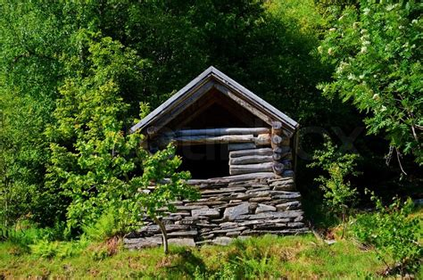 a small alpine shed in the woods stock photo colourbox