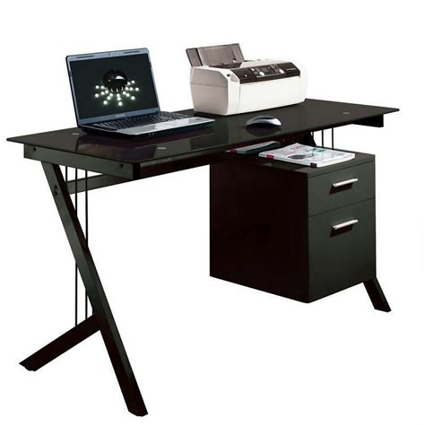 Black Glass Computer Desk Pc Laptop Printer Table Home Office Computer Desk