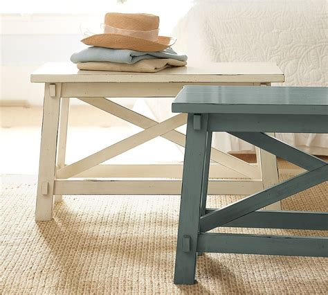 pottery barn bench table skinny side table appears to save the space without