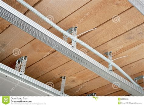 new electrical wiring in a suspended ceiling stock image