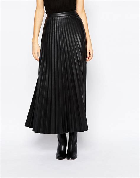 urbancode urbancode faux leather pleat maxi skirt at asos