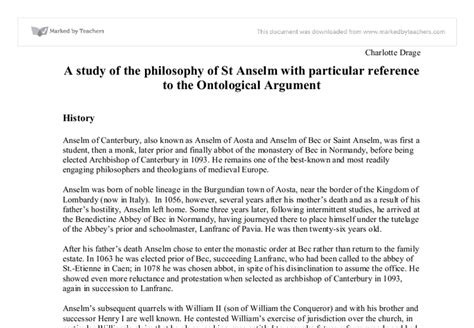 Ontological Argument Anselm Essay by St Anselm Ontological Argument Essa
