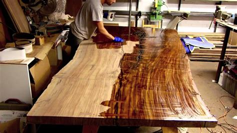 finishing  massive claro walnut slab table  edge