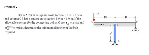 square cross section beam acb has a square cross section 1 5 times 1 5