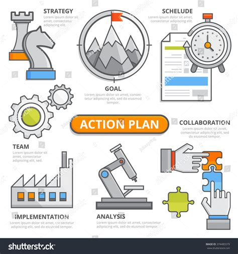 7 Efficient Tactics To Fulfill Your Goals by Plan Design Concept Strategy Schedule Stock Vector