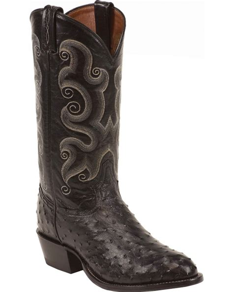 cow boots tony lama quill ostrich cowboy boots toe