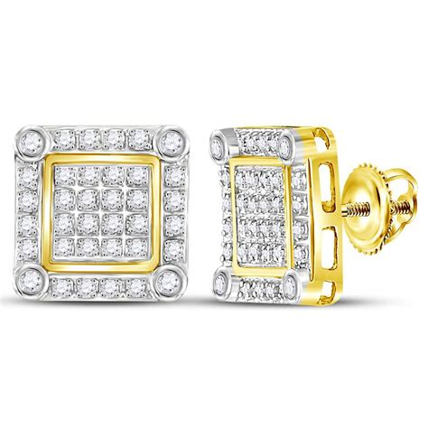 10kt yellow gold mens square cluster stud