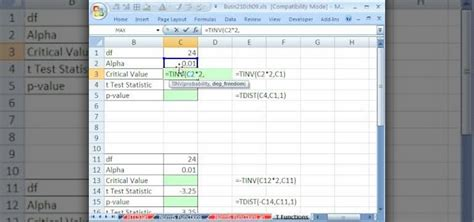 How Find On How To Find Critical Values With T Functions In Ms Excel 171 Microsoft Office