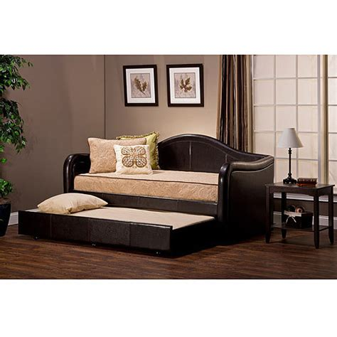 Leather Daybed With Trundle Hillsdale Furniture Brenton Faux Leather Daybed With Trundle Espresso Walmart